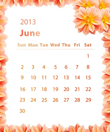 2013 year calendar ,June with Pink Flower frame design photo