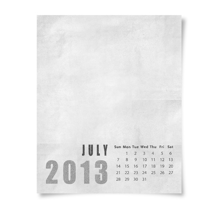 2013 year calendar August on paper