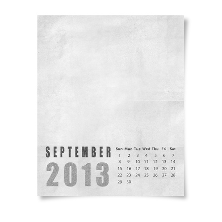 2013 year calendar September on paper photo