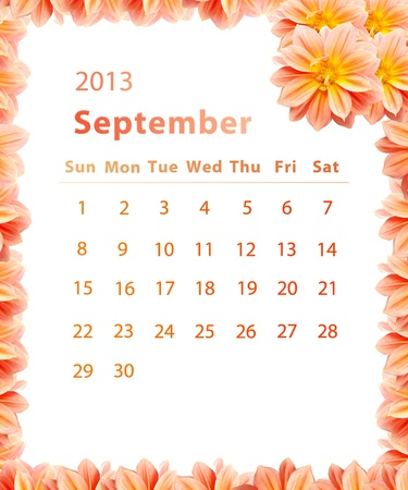 2013 year calendar ,September with Pink Flower frame design photo