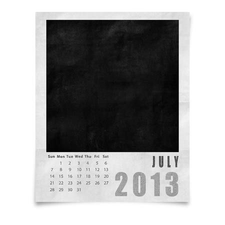 2013 year calendar ,July on blank photo frame isolated on white photo