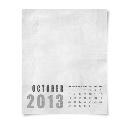 2013 year calendar October on paper photo