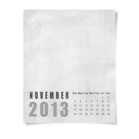 2013 year calendar November on paper photo