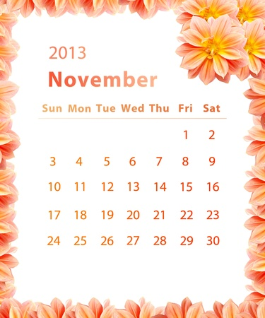 2013 year calendar ,November with Pink Flower frame design photo