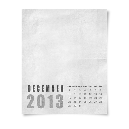 2013 year calendar December on paper photo