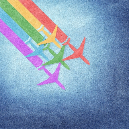 Paper texture,Colorful Airplanes on grunge paper background photo