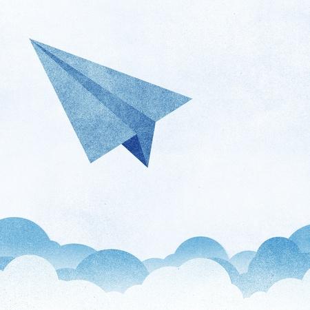 Papierstructuur papier vliegtuigen vliegen tegen de lucht en de wolken