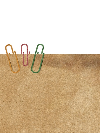 Paper clip and recycle paper on white background Stock Photo - 16539623