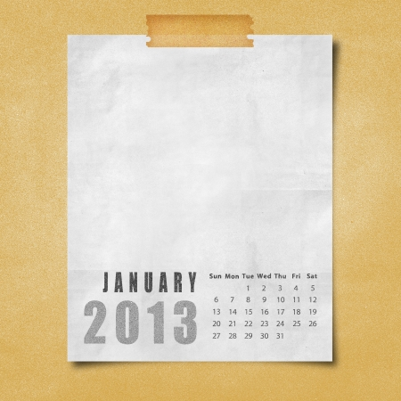 2013 year calendar January on paper board background photo