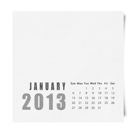 2013 year calendar January on recycle paper Stock Photo - 16676626