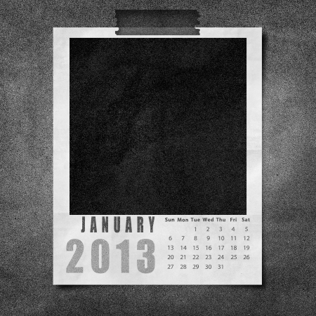 2013 year calendar January on black paper board background