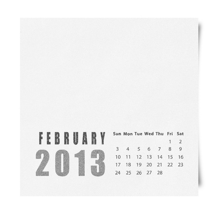 2013 year calendar February on recycle paper Stock Photo - 16676628