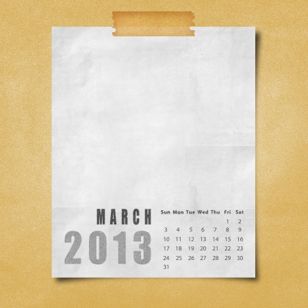 2013 year calendar March on paper board background photo