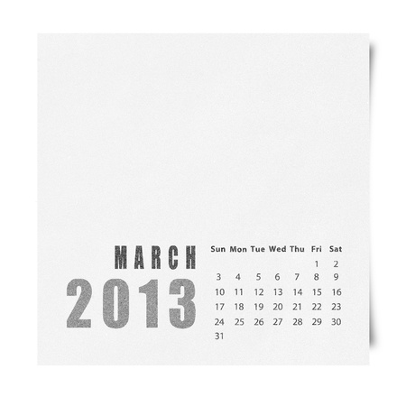 2013 year calendar March on recycle paper photo