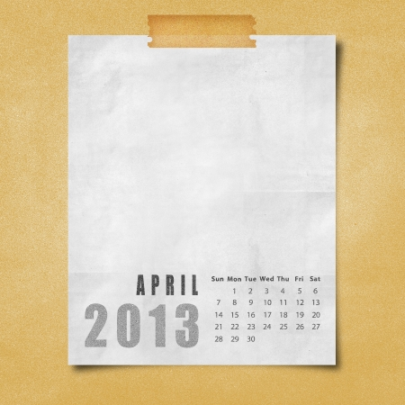 2013 year calendar April on paper board background photo