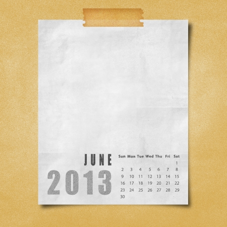 2013 year calendar June on paper board background photo