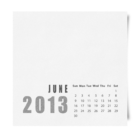 2013 year calendar June on recycle paper Stock Photo - 16676619