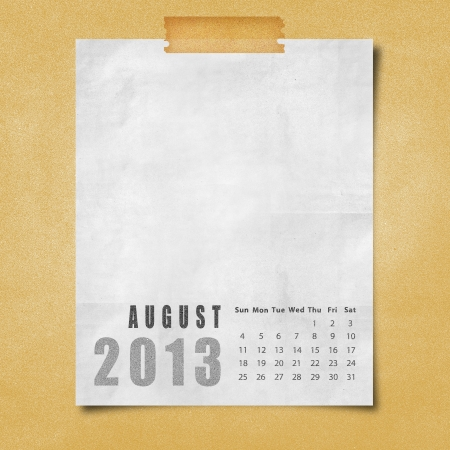 2013 year calendar August on paper board background photo