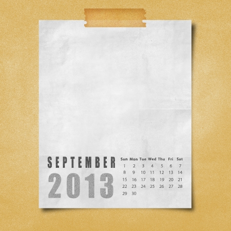 2013 year calendar September on paper board background photo