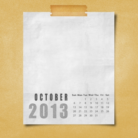 2013 year calendar October on paper board background Stock Photo - 16676872