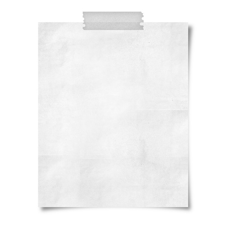note paper taped on white background photo