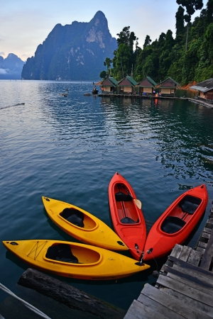 Kayak on Cheo Lan lake. Khao Sok National Park. Thailand. photo