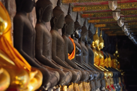 golden buddhas lined up along the wall of buddhist temple   photo