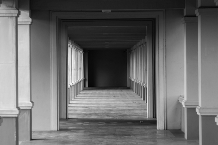 perspective view through several open doors  photo