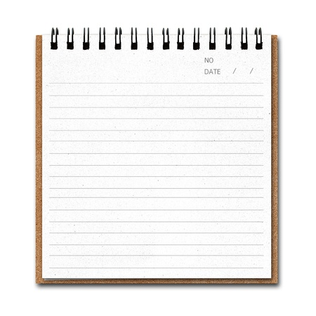 Notebook paper  with line isolate on white background photo