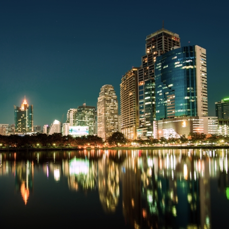City downtown at night with reflection of skyline Stock Photo - 18371212