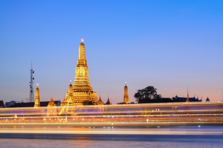 Prang of Wat Arun with lighting effect  photo