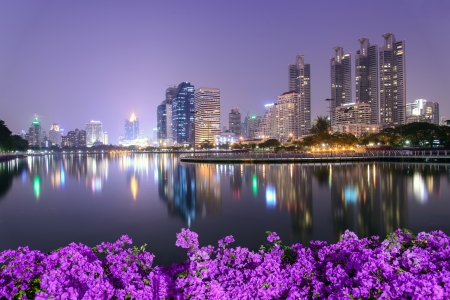 Bangkok city downtown at night with Bougainvillea flower foreground photo