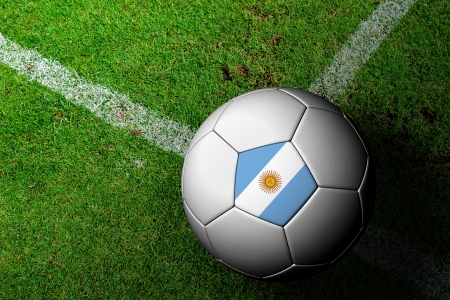 frag: Argentina Flag Pattern of a soccer ball in green grass Stock Photo