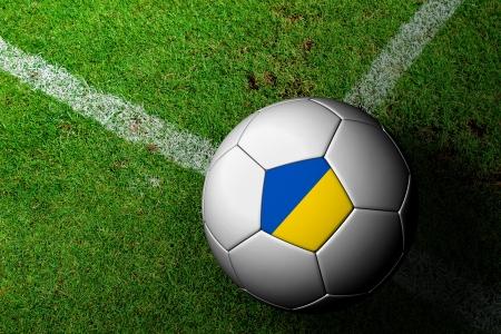 frag: Ukraine Flag Pattern of a soccer ball in green grass