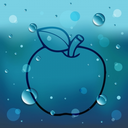 Apple on glass and water drop