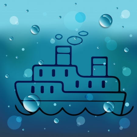 Ship cartoon on glass and water drop.EPS10 Vector