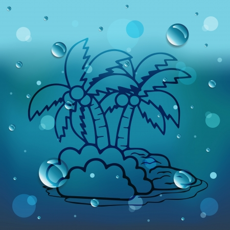 Coconut tree on glass and water drop
