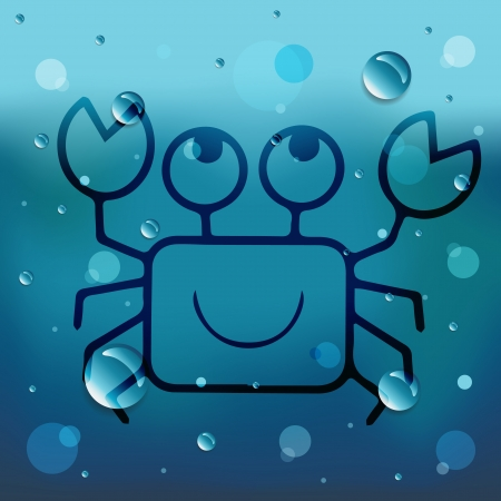 Cartoon crab on glass and water drop