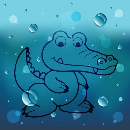 cangrejo caricatura: Cangrejo de la historieta en el vidrio y el agua ca?da