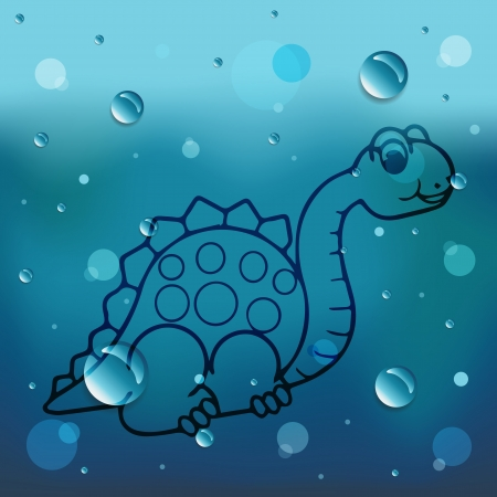 comin: Cartoon Dinosaur on glass and water drop Illustration