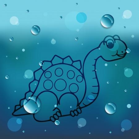 comin: Cartoon Dinosaur on glass and water drop Illustration