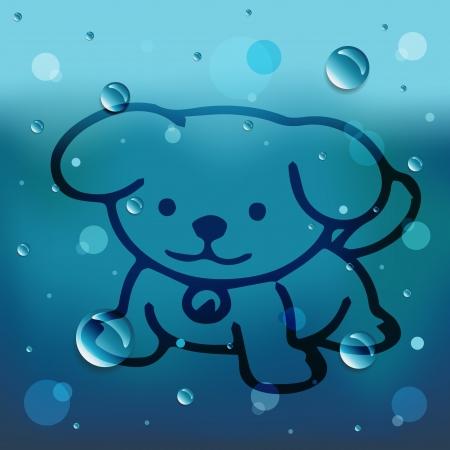 comin: Cartoon Dog on glass and water drop