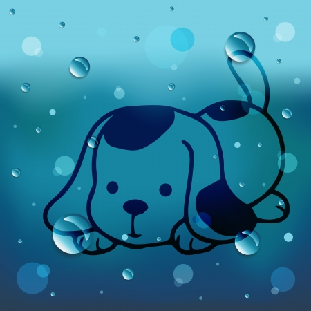 Cartoon dog on glass and water drop