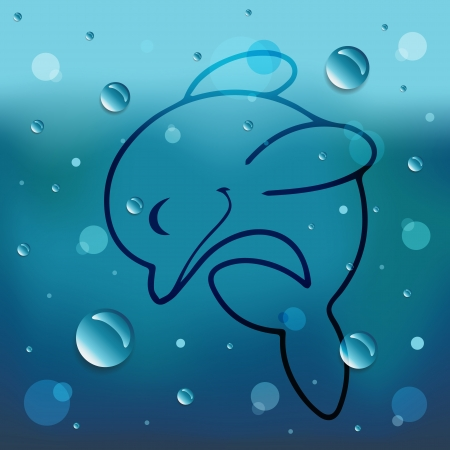 comin: Cartoon Dolphin on glass and water drop