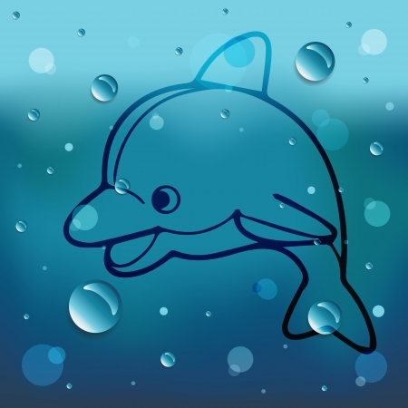 Cartoon Dolphin on glass and water drop