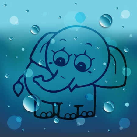 comin: Cartoon elephant on glass and water drop