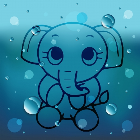 Cartoon elephant on glass and water drop