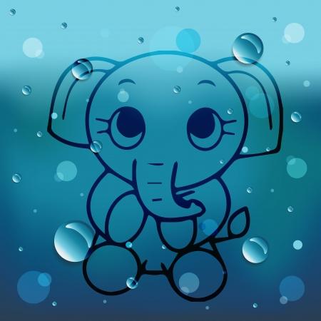 comin: Cartoon elephant on glass and water drop