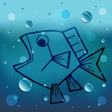 Cartoon fish on glass and water drop