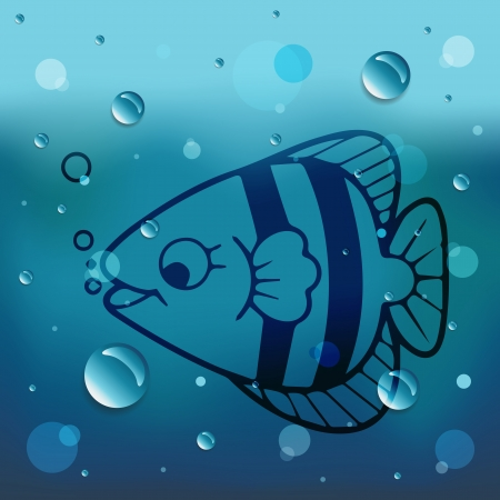 comin: Fish on glass and water drop.EPS10 Illustration